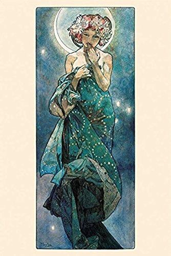 Buyartforless The Moon by Alphonse Mucha 36x24 Art Print Pos