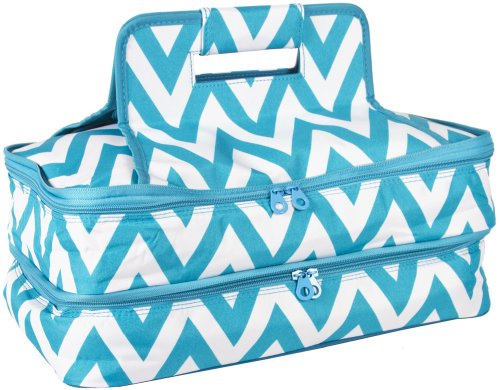 Ever Moda Casserole Tote Bag, Zig Zag Chevron (Blue)