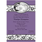 Delightfully Damask Photo Lilac Baby Shower Invitations...