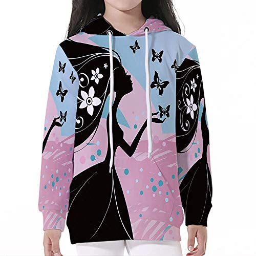 Pullover Hooded,Spring,Silhouette of Madam Butterfly Floral Head in Soft Backgro