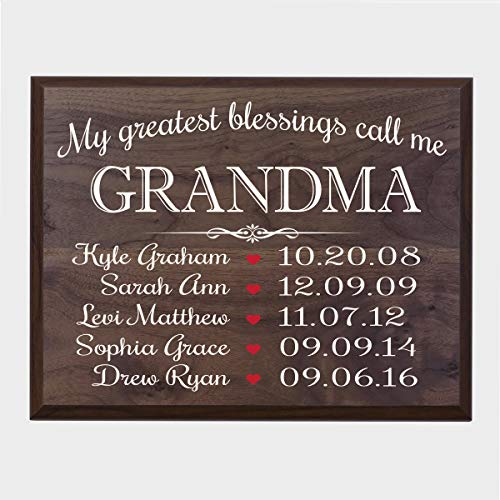 LifeSong Milestones Personalized Gifts for Grandma Wall Plaque Sign with Children's Names Birth Dates to Remember My Greatest Blessings Call me Grandma - Plaque Date Birth
