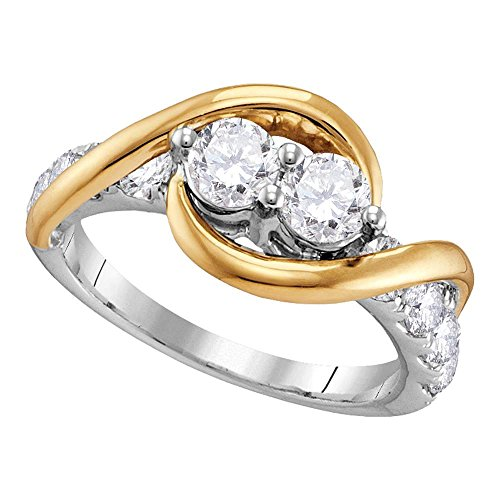 14kt Two-tone Gold Womens Round Diamond 2-stone Bridal Wedding Engagement Ring 1/2 Cttw 14kt 2 Tone Diamond Ring