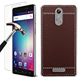 BLU VIVO 5R Case + Screen Protector, Gzerma Classic PU Leather Textured Back Cover, Ultra Silm Shock-Absorption TPU Durable Case, Shockproof and HD Clear Protective Film for BLU VIVO 5R Smartphone, Brown