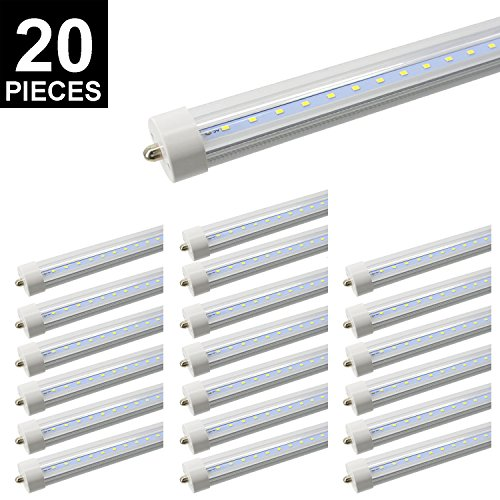 20-Pack 8ft T8 LED Tube, CNSUNWAY LIGHTING 45W 96'' FA8 Single Pin Light Bulb 6000K-6500K Daylight White 4800LM Lamps (20, Clean Cover) by CNSUNWAY LIGHTING