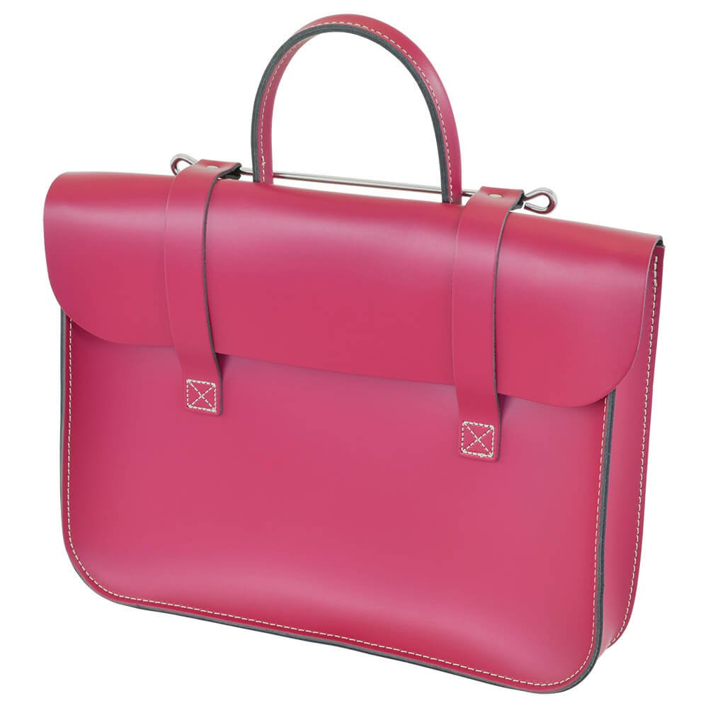 Oxford Traditional Leather MC1-CP Traditional Classic Leather Music Case, Cabaret Pink