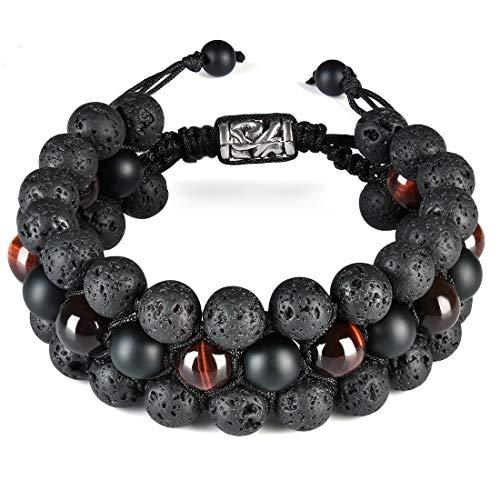 CAT EYE JEWELS 8mm Natural Healing Stones Beads Bracelet Triple Layered Adjustable Macrame H001