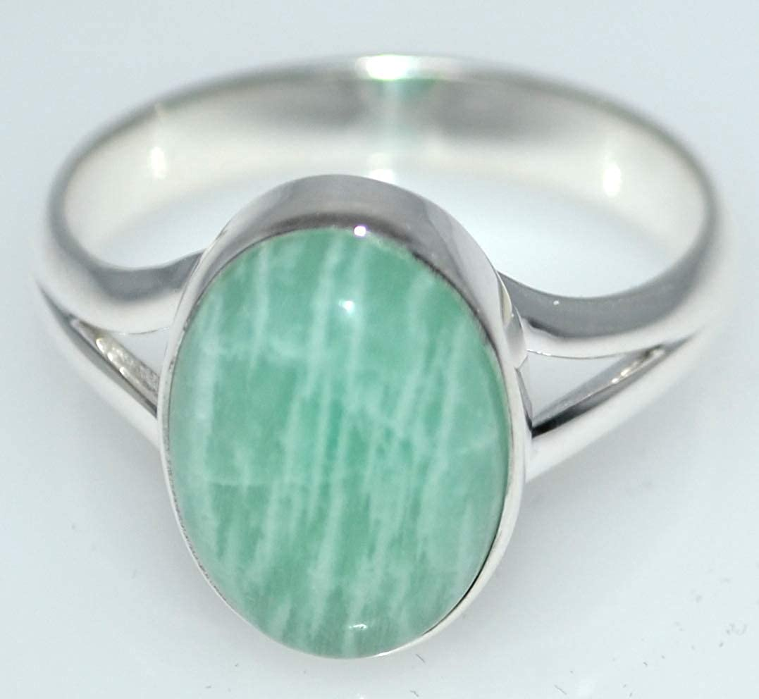 925 Sterling SILVER Natural Amazonite Gemstone Ring Size L 5½ to Y 12 Solitaire