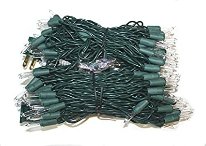 christmas mini lights 100 clear lights green wire 42 ft long bulk