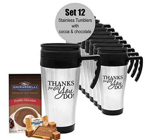 12 Piece Thank You Tumblers with Ghirardelli Chocolate & Cocoa/Holiday Thank You Cocoa & Chocolate Tumbler/Ghirardelli Cocoa/Teacher Appreciation Gift/Corporate Thank You Travel Mugs/Nurse's Day Gifts