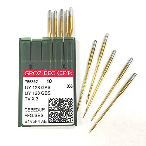 10 Pk. Groz-Beckert UYX128GAS TVX3 Titanium FFG/SES Ball Point Needles (Singer Size 9 (Metric Size 65))