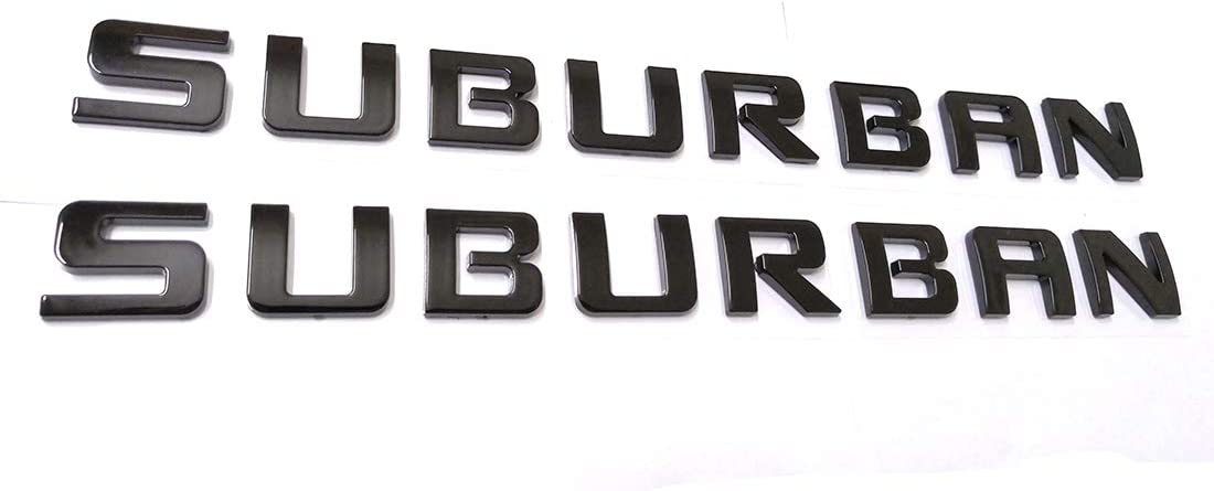 2pcs Suburban Nameplate Emblems ABS Letter Badge Replacement for Gm 07-16 Suburban Chevrolet Glossy Shiny New Black Emzscar