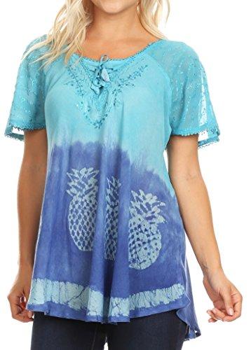 (Sakkas 18719 - Ivanna Womens Short Raglan Lace Sleeve Flowy Top Blouse Tie-dye & Batik - Turquoise - OSP )