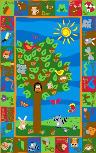 Kid Carpet FE722-22A Forest Nylon Area Rug with Animal Alphabet, 4' x 6', Multicolored