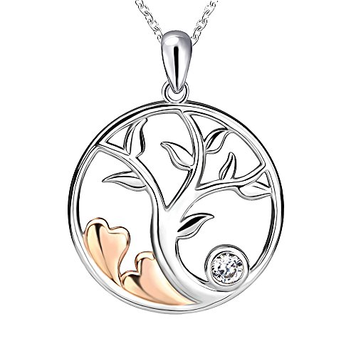 Apotie 925 Sterling Silver Charn Tree of Life Love Heart Pendant Necklace Jewelry Gifts for Women Girls …