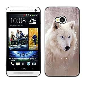 Exotic-Star Fundas Cover Cubre Hard Case Cover para HTC One (M7) ( Enfriar lobo Invierno )