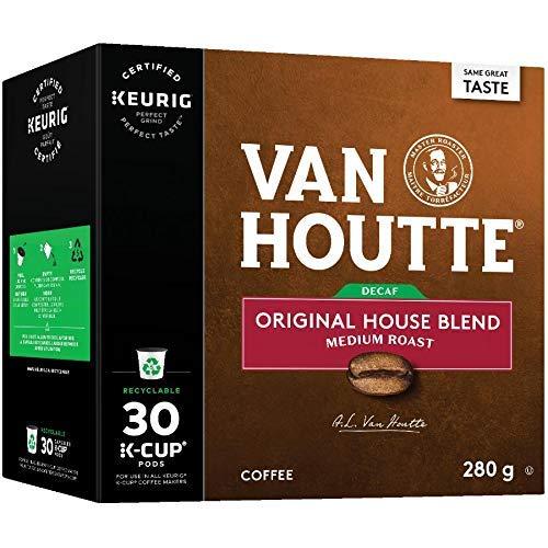 Van Houtte House Blend Decaf Single Serve Keurig Certified Recyclable K-Cup pods for Keurig brewers, 30 Count