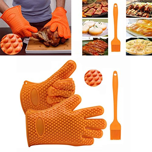 AMA Silicone Kitchen Cooking Gloves +Brush Heat Resistant Co