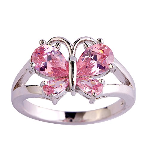 Psiroy 925 Sterling Silver Created Pink Topaz Filled Butterfly Ring Size 6