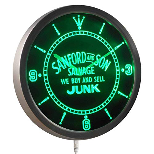 Sanford Clock - Time2LightUp Sanford and Son Buy Sell Junk 10 Inches Round LED Neon Wall Clock Green