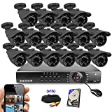 Best Vision Systems 16 Channel 2TB 1080N DVR Security Surveillance System with (16) 1MP AHD Outdoor Bullet Cameras