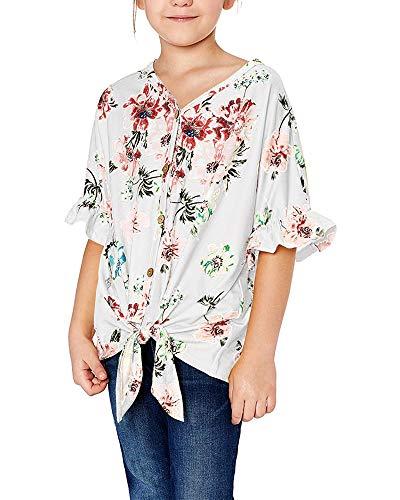Geckatte Girls Floral Boho Short Sleeve T Shirt Kimono V Neck Button Down Boho Outfit Casual Tops Blouses 1