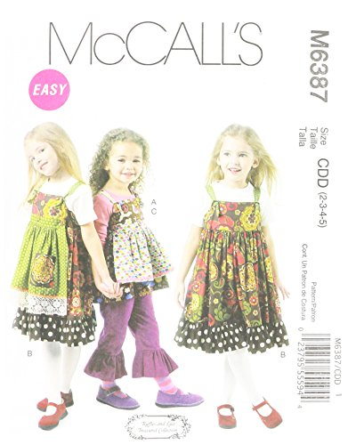 McCall's Patterns M6387 Children's/Girls' Top, Jumpers, Detachable Aprons and Pants, Size CDD (2-3-4-5)