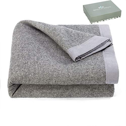 (spencer & whitney Throw Blanket 100% Wool Blanket Grey Twill Throw Gift for Men Full Throw Blankets for Bed)