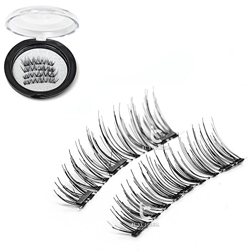 ICYCHEER False Magnetic Eyelashes Magnet Fake Eye Lashes Ultra-thin 3D Natural Look,Cruelty Free, Reusable Best Fake Lashes, 1 Pair 4 Pieces