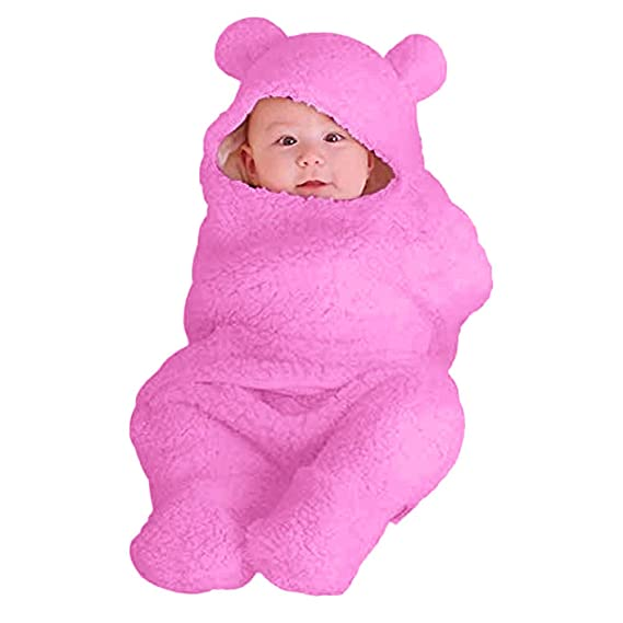 Mitlfuny Invierno Grueso Franela Swaddle Wrap Cordero de Lana Saco de Dormir para Bebé Niños Manto