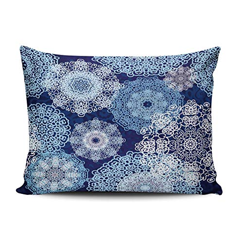 AIHUAW Home Decorative Cushion Covers Throw Pillow Case Snowflakes Blue Pillowcases Queen 20x30 Inches One Sided Printed (Set of 1)