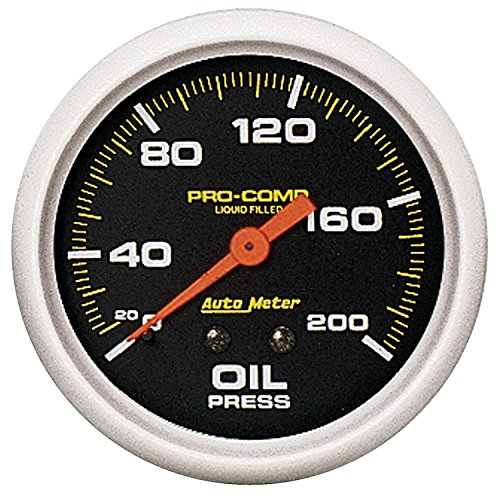 Auto Meter 5422 Pro-Comp; Liquid-Filled Mechanical Oil Pressure Gauge; 2 5/8 in.; 0 - 200 psi; Incl. 1/8/0.25 in. NPT Fittings; 6 ft. Nylon Tubing;