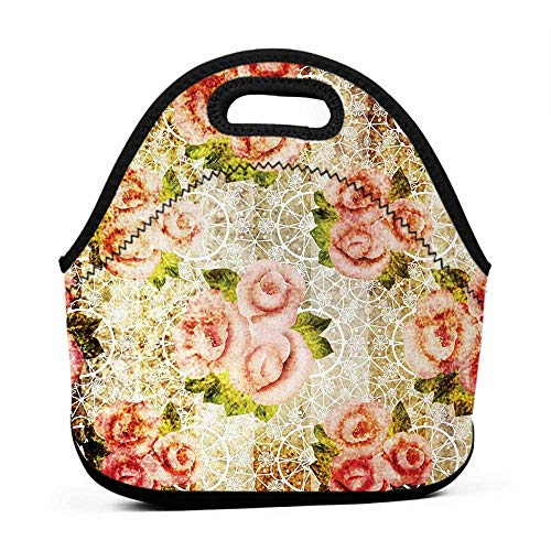 - for Womens Mens Boys Girls Rose,Grunde Psychedelic Artsy Floral Motif with Dated Retro Dark Lace Boho Patterns,Pink Green Cream,lunch bag for men with containers