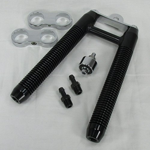 BLACK Finned Billet Oil V-Cooler for MOST Harley Models WITH 1-1/8