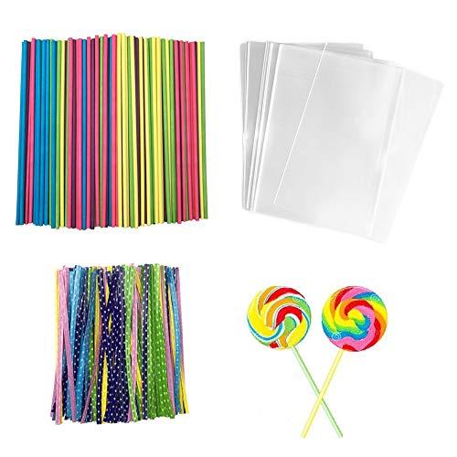 600 Pcs Lollipop Set 200 PCS Parcel Bags 200 Pcs Colorful Treat Sticks 200 Pcs Colorful Metallic Wire for for Lollipop Candy Cake Pop Chocolate Cookie Wrapping Buffet ()