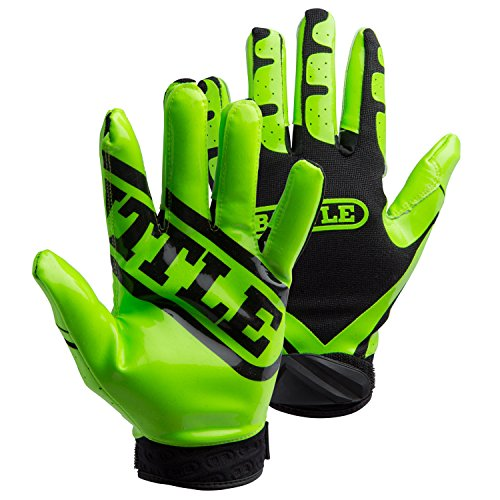 Battle Adult Ultra-Stick Receiver Gloves, Large, Neon Green/Black ()
