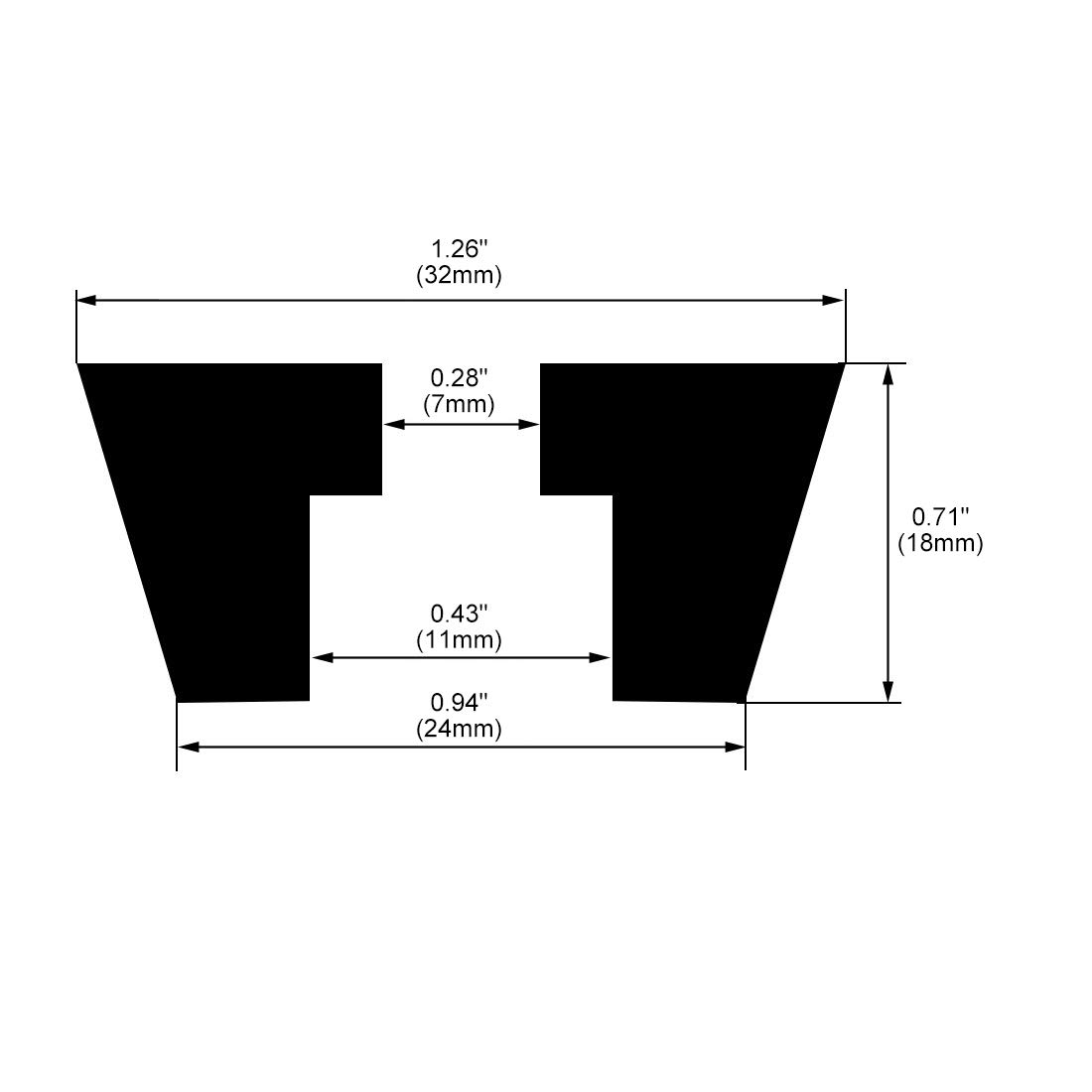 sourcing map Pies de goma paragolpes patas almohadillas amortiguadoras de D28x25xH14mm negro 12pcs