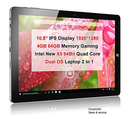 ChuwiUSA Windows Tablet, CHUWI Hi10 Plus Windows 10/Android 5.1 Dual Boot 2-in-1 Tablet PC, 10.8 Full HD Display, Featuring Intel X5 Cherry Trail Z8350 Quad Core, 4GB RAM/64GB ROM and WiFi