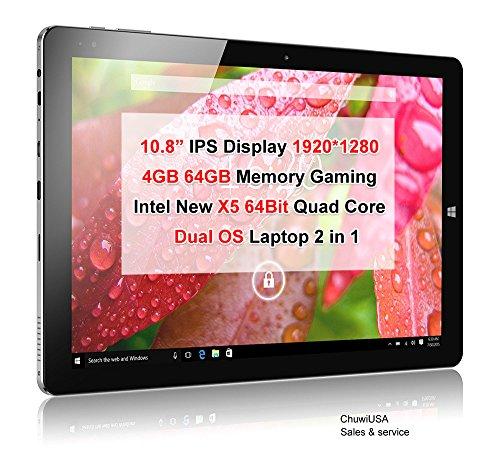 ChuwiUSA Windows Tablet, CHUWI Hi10 Plus Windows 10/Android 5.1 Dual Boot 2-in-1 Tablet PC, 10.8″ Full HD Display, featuring Intel X5 Cherry Trail Z8350 Quad Core, 4GB RAM/64GB ROM and Wifi