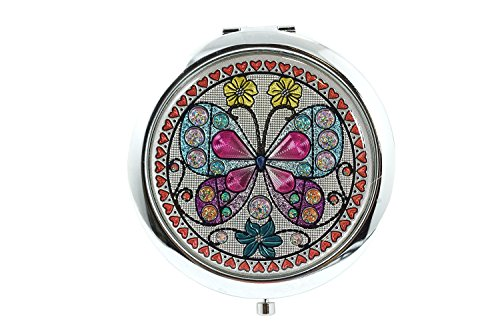 Lovely Butterfly Butterfly Stained Glass Design Compact Mirror - Bathroom Omaha Mirrors