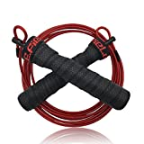P.E.Field Speed Jump Rope Pro - Adjustable with Ball Bearings - Designed for Double Unders, Cross Training, WOD, MMA & Boxing Training - Allow You to Boost Your Aerobic Results.