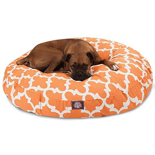 Large White Orange Trellis Pattern Dog Bed, Peach Quatrefoil Modern Round Pet Bedding, Bold Fun Print, Features Water, Stain Resistant ,Removable Cover, Comfort Design, Polyester by N2