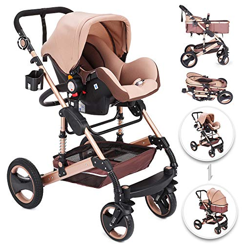 Happybuy 3 in 1 Foldable Luxury Baby Stroller Travel System with Baby Basket Anti-Shock Springs Newborn Baby Pushchair Adjustable High View Pram Travel System Infant Carriage Pushchair(3in1/Gold)