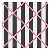 Sweet Jojo Designs Pink, Black and White Stripe Paris Fabric Memory/Memo Photo Bulletin Board