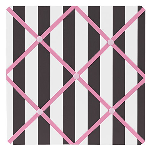 Sweet Jojo Designs Pink, Black and White Stripe Paris Fabric Memory/Memo Photo Bulletin Board by Sweet Jojo Designs