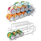 vegetable can holder - mDesign 2-Tier Standing Pop/Soda and Food Can Dispenser Storage Rack Organizer with Shelf for Kitchen Pantry, Countertops and Cabinets - Metal, 2 Pack - Chrome