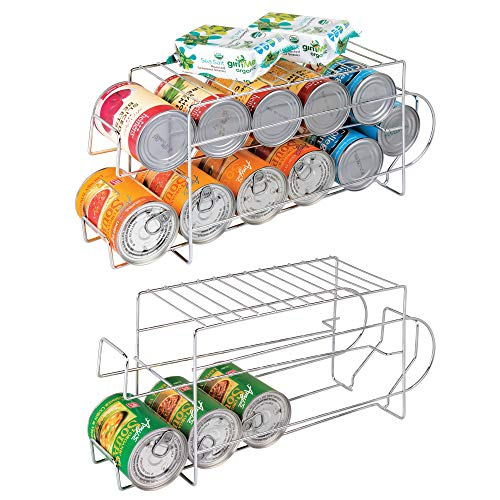 mDesign 2-Tier Standing Pop/Soda and Food Can Dispenser Storage Rack Organizer with Shelf for Kitchen Pantry, Countertops and Cabinets - Metal, 2 Pack - Chrome