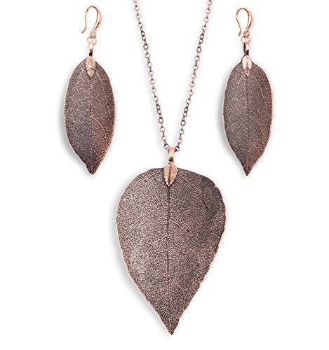 BOUTIQUELOVIN Women's Long Copper Leaf Pendant Necklace & Earring Set Trendy Bohemian Jewelry (Copper Necklace & Earring ()