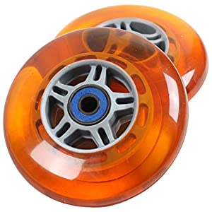 TGM Skateboards 2 Scooter Wheels With Abec 7 Bearings for RAZOR SCOOTER 100mm (orange)