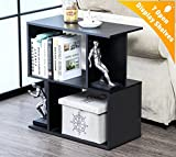 Wood Accent End Side Bedside Table Coffee Table Night Stand Printer Telephone Stand with Storage Shelf Bookshelf Organizer Cabinet,Black
