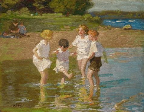 Oil Painting 'Edward Potthast,Summer Joys,1914', 12 x 15 inch / 30 x 39 cm , on High Definition HD canvas prints is for Gifts And Bath Room, Game Room And Gym Decoration, printing (Coupons For Party City 2016)